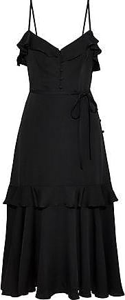 50c706ca8397 Milly Milly Woman Petal Ruffle-trimmed Stretch-silk Midi Dress Black Size 0