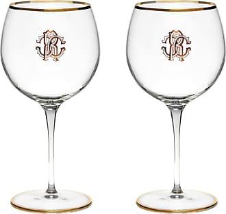 Roberto Cavalli Monogram Large Wine Glasses - Set of 2 - Gold