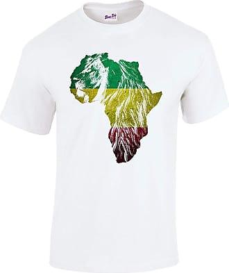 Bang Tidy Clothing Mens Ethiopian Lion of Judah Rasta Rastafari African Flag T Shirt White XXL