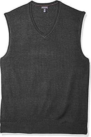 Van Heusen Mens Big and Tall Solid Sweater Vest 12GG, Black Heather, X-Large