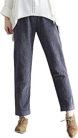 OCHENTA Womens Autumn/Winter Casual Corduroy Pants with Pockets Grey UK 10-Tag XL