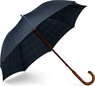 London Undercover Black Watch-lined Wood-handle Umbrella - Navy