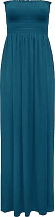 ZEE FASHION Womens Sleeveless Boobtube Bandeau Ladies Sheering Maxi Summer Strapless Long Dress Size UK 8-24 Teal