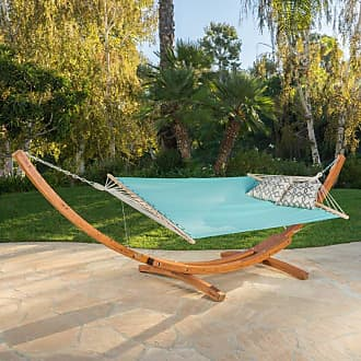 BEST SELLING HOME Outdoor 13.7 ft. Richardson Hammock with Wood Arc Stand Multiblue Red and White Striped - 299966