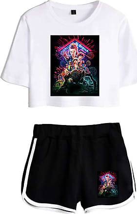 OLIPHEE Girls Stranger Things New Season Character Printed Tracksuits Casual Summer Crop Tops and Shorts T-Shirt Suits Graphic White Black XS