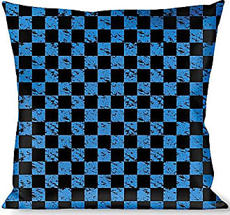 Buckle Down Pillow Decorative Throw Checker Weathered Black Turquoise