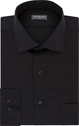 Van Heusen mensDress Shirt Regular Fit Flex Collar Solid Spread Collar Long Sleeve Dress Shirt - Black - 17.5 Neck 34-35 Sleeve