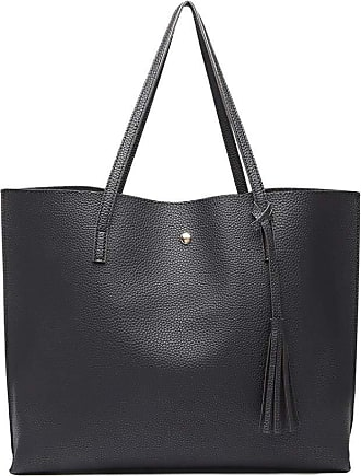 Quirk Soft Pebbled Leather Look Tote Bag - Black