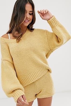 Zulu & Zephyr relaxed oversize knitted beach jumper in oatmeal-Yellow