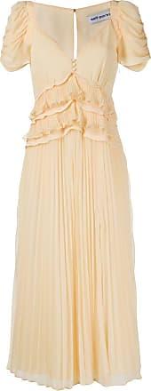 Self Portrait frilled slit pleated midi dress - Yellow