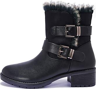 Truffle Vegan Leather Womens Low Block Heel Comfy Winter Fur Ankle Boots - Black - UK 3