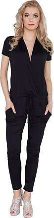 FUTURO FASHION Womens Jumpsuit with Pockets V Neck Wrap Playsuit Catsuit Sizes 8-18 1080 Black