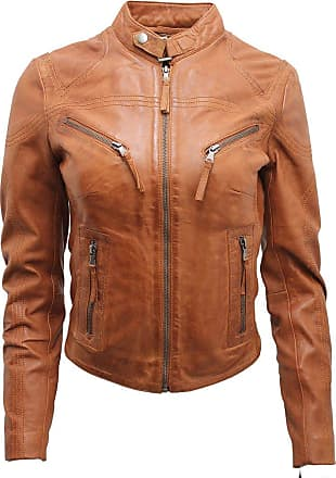 Infinity Womens Casual Tan Leather Biker Jacket 16
