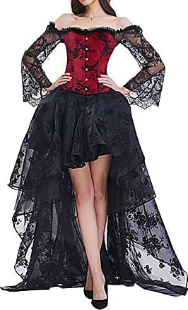 EmilyLe Womens Elegant Steampunk Corsets Jacquard Bustier Tops with High Low Lace Skirt Costume (2XL, Red Black)