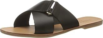 Pieces Womens Psnea Leather Sandal Flat, Black, 5.5