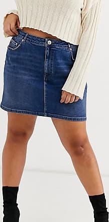 Asos Curve ASOS DESIGN Curve - Gonna di jeans originale vita alta blu stone wash scuro