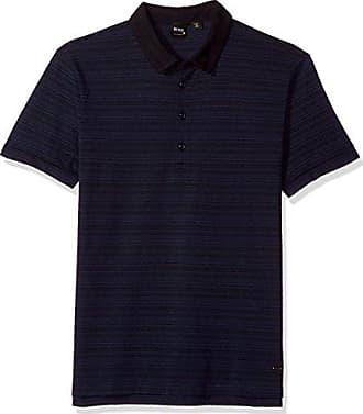03697ea21b50 HUGO BOSS BOSS Orange Mens Profit Polo with Jacquard Stripes, Dark Blue, XXL