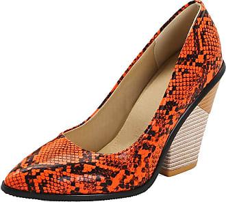 RAZAMAZA Women Vintage Western Pumps Shoes Chunky Heels Court Shoes Slip On Pointed Toe Snake-Print Shoes Orange Size 34 Asian