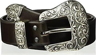 Ariat Ariat Womens Beveled Edge Silver Buckle Set Belt, Brown, Medium