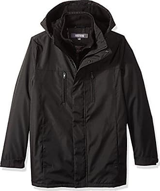 Kenneth Cole Reaction Mens Bonded Midweight Jacket with Fleece Zip Bib, Black, Medium