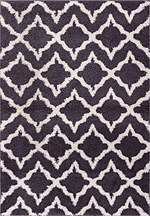 Well Woven Madison Shag Linx Geometric Grey Cream Modern Area Rug 5 X 72
