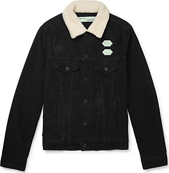 Off-white Faux Shearling-trimmed Cotton-corduroy Jacket - Black