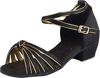 Insun Girls 1.4 Ballroom Dance Shoes Latin Salsa Bachata Shoes Wedding Performance Dance Shoes Black Gold Rubber Sole 11.5 UK Child