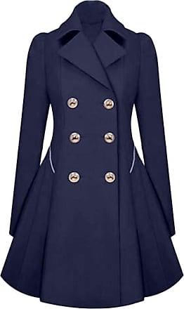 NPRADLA Womens Winter Warm Ladies Lapel Stylish Long Parka Coat Trench Outwear Jacket Dark Blue