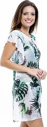 101 Resort Wear Vestido 101 Resort Wear Saída Crepe Estampado Folhagem Verde