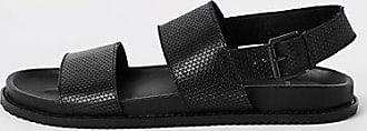 River Island Mens Black leather double strap sandals
