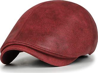Ililily New Mens Flat Cap Vintage Cabbie Hat Gatsby Ivy Caps Irish Hunting Hats Newsboy with Stretch fit (flatcap-001) (Red)
