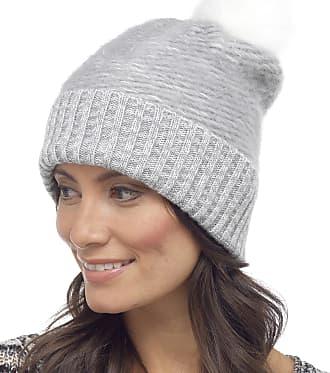 Foxbury Ladies Fluffy Beanie Bobble Hat with Faux Fur Pom Pom One Size Grey
