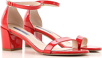 Stuart Weitzman Sandals for Women On Sale, Red, Patent, 2017, 10