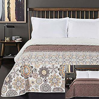 DecoKing 170x210 cm Creme braun Tagesdecke Bett/überwurf zweiseitig Blumen Cream Brown Blumenmuster