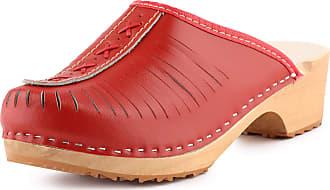Ladeheid Women´s Wood Shoes Clogs House Shoes LAFA036 (Red, 37 EU = 4 UK)