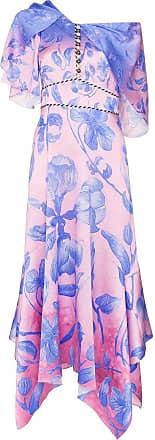 Peter Pilotto Vestido midi com estampa floral - Azul