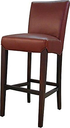 New Pacific Direct Milton Bonded Leather Bar Stool 29.5,Brown Legs,Dark Brick Red,Fully Assembled