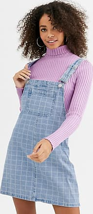 Urban Bliss denim pinafore dress in grid print-Blue