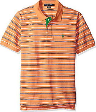 U.S.Polo Association Mens Striped Pique Classic Fit Shirt, Pattern Honey Orange, Small