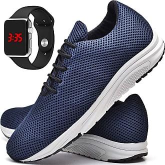 Juilli Tênis Com Relógio LED Prata Casual Masculino JUILLI R1108DB Tamanho:41;cor:Azul;gênero:Masculino