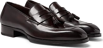 a02151f0aba Tom Ford Elkan Leather Tasselled Penny Loafers - Dark brown