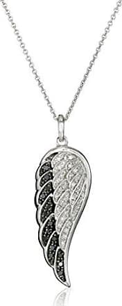 Amazon Collection Sterling Silver Black and White Diamond Angel Wing Pendant Necklace (1/5 cttw), 18