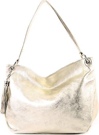 modamoda.de ital. Leather Case Shoulder Bag Shoulder Bag Genuine Leather T154, Colour:Light gold