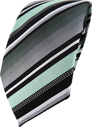 TigerTie Designer tie necktie in mint silver gray white striped - Tie necktie