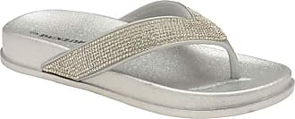 Dunlop Ladies Low Wedge Multi Platform Summer Slip On Toe Post Flipflops Sandals Shoes Size 3-8 (5 UK, Silver)