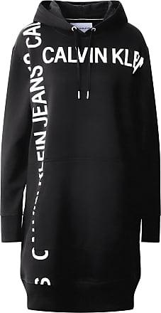 Calvin Klein Jeans Sweatshirtkleid weiß / schwarz