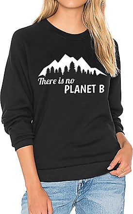 Dresswel Women There is No Planet B Sweatshirt Pullover Round Neck Long Sleeve Tops Jumpers Blouse (Black, Size L)