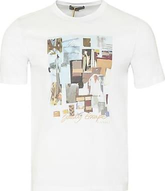 Canali Crew Printed T-Shirt Weiß - EU 54 / XXL UK