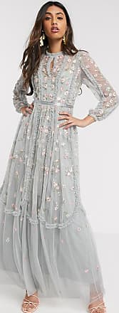 Needle & Thread maxi dress with rose embroidery in blue