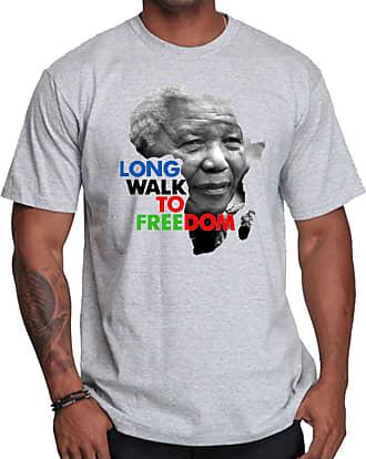 OM3 Mandela - Freedom - T-Shirt Nelson Madiba APARTHEID Afrika Peace Emo, M, Heather Grey